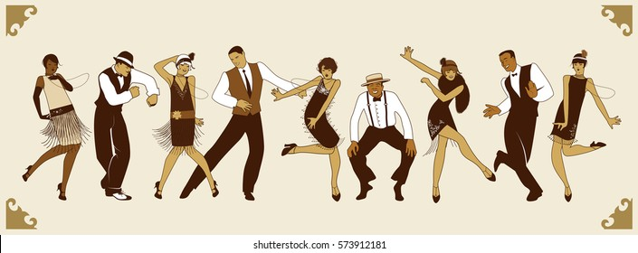 Charleston Party. Group of young people dancing charleston. Comic style.