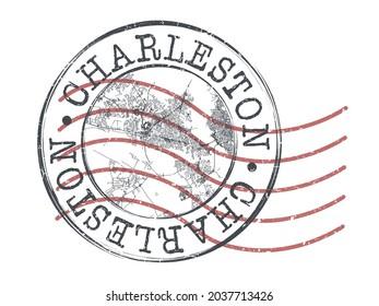 Charleston, SC, USA Stamp Map Postal. Silhouette Seal Roads and Streets. Passport Round Design. Vector Icon. Design Retro Travel National Symbol.