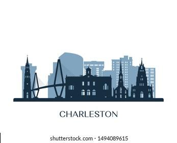Charleston skyline, monochrome silhouette. Vector illustration.