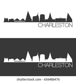 Charleston Skyline Silhouette Abstract Design City Vector Art