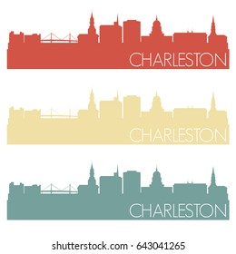 Charleston Skyline Silhouette City Famous Vector Vintage Color Set Design