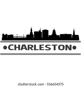 Charleston Skyline Silhouette. Cityscape Vector Famous Buildings Clip Art Design.