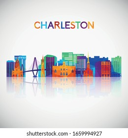 Charleston skyline silhouette in colorful geometric style. Symbol for your design. Vector illustration.