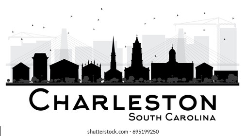 Charleston South Carolina City skyline black and white silhouette. Vector illustration. Simple flat concept for tourism presentation, banner, placard or web site. Business travel concept.