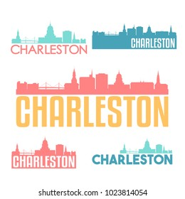 Charleston South Carolina Flat Icon Skyline Vector Silhouette Design Set Logo.