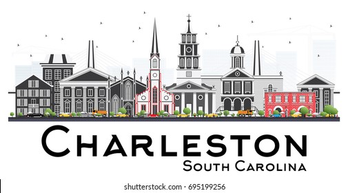 Charleston South Carolina Skyline with Gray Buildings Isolated on White Background. Vector Illustration. Business Travel and Tourism Illustration with Historic Architecture.