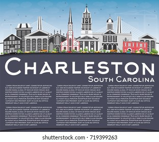 Charleston South Carolina Skyline with Gray Buildings, Blue Sky and Copy Space. Vector Illustration. Business Travel and Tourism Illustration with Historic Architecture.