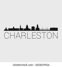 Charleston South Carolina. The Skyline in Silhouette of City. Black Design Vector. The Famous and Tourist Monuments. The Buildings Tour in Landmark.