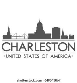 Charleston South Carolina Skyline Silhouette Design City Vector Art Landmark.