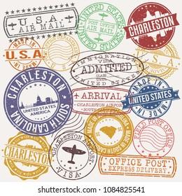 Stamp vector stock vectors images vector art shutterstock charleston south carolina stamp vector art postal passport travel design set malvernweather Images
