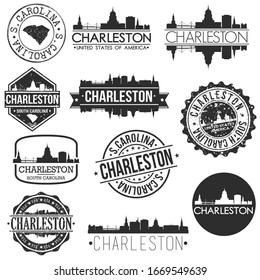 Charleston South Carolina USA. Skyline Vector Art Stamps. Silhouette Emblematic Buildings.