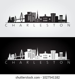 Charleston usa skyline and landmarks silhouette, black and white design, vector illustration.