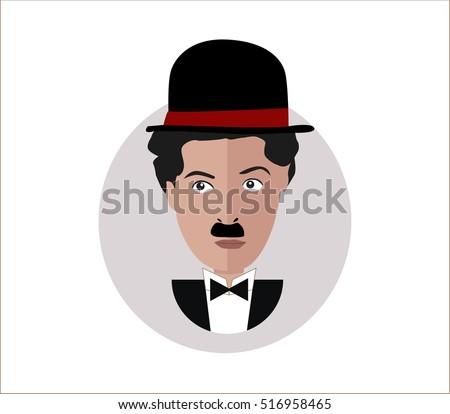 Immagine vettoriale a tema Charlie Chaplin Portrait Flat Design ... 10acfe351c34