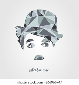 Charlie Chaplin silhouette. Silent movie poster, vector illustrations