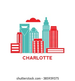 Charlotte city architecture retro vector illustration, skyline city silhouette, skyscraper, flat design