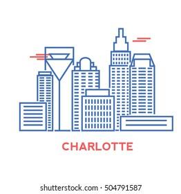 Charlotte city architecture retro vector illustration, skyline city silhouette, skyscraper, stroke design
