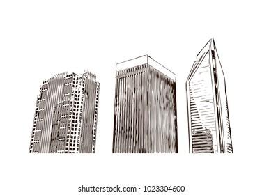 Charlotte City in North Carolina, USA. Hand drawn sketch illustration in vector.