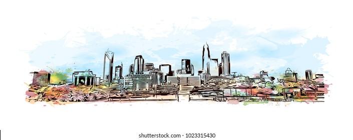 Charlotte City in North Carolina, USA. Watercolor splash with Hand drawn sketch illustration in vector.