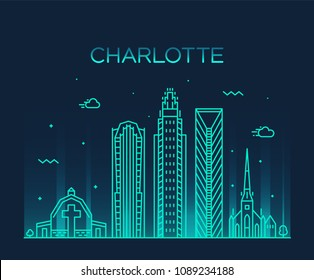 Charlotte city skyline, North Carolina, USA. Trendy vector illustration, linear style