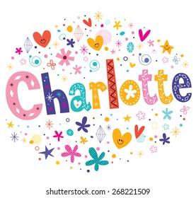 Charlotte girls name decorative lettering type design