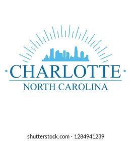 Charlotte North Carolina. Banner Design. City Skyline. Silhouette Vector. Famous Monuments.