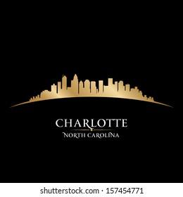 Charlotte North Carolina city skyline silhouette. Vector illustration
