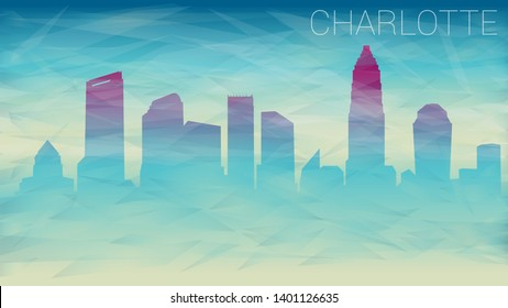 Charlotte North Carolina City USA. Broken Glass Abstract Geometric Dynamic Textured. Banner Background. Colorful Shape Composition.