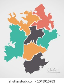 Charlotte North Carolina Map with neighborhoods and modern round shapes