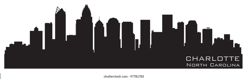 Charlotte, North Carolina skyline. Detailed vector silhouette