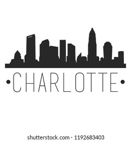 Charlotte North Carolina Skyline Silhouette City Design Vector Famous Monuments