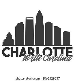 Charlotte North Carolina Skyline Souvenir Travel Vector Art Design Tourism