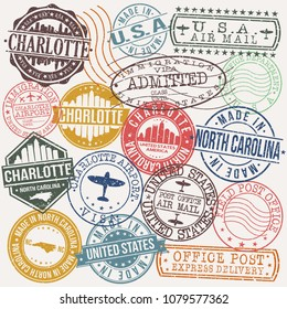 Charlotte North Carolina Stamp Vector Art Postal Passport Travel Design Set Badges.