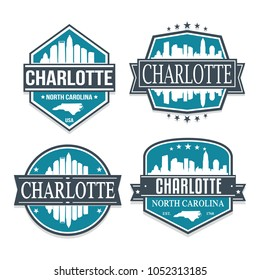 Charlotte North Carolina Travel Stamp Icon Skyline City Design Vector