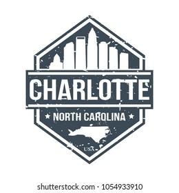 Charlotte North Carolina Travel Stamp Icon Skyline City Design