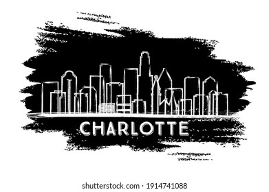 Charlotte North Carolina USA City Skyline Silhouette. Hand Drawn Sketch. Business Travel and Tourism Concept with Modern Architecture. Vector Illustration. Charlotte Cityscape with Landmarks.