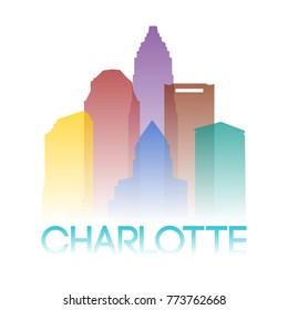Charlotte North Carolina USA Icon Silhouette Gradient Design City Vector Art