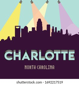 Charlotte North Carolina USA skyline silhouette flat design vector illustration