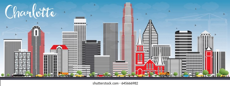 Charlotte Skyline with Gray Buildings and Blue Sky. Vector Illustration. Business Travel and Tourism Concept with Modern Architecture. Image for Presentation Banner Placard and Web Site.
