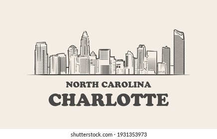 Charlotte skyline, north carolina.  Charlotte hand drawn sketch