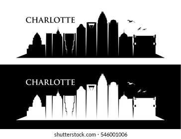 Charlotte skyline, North Carolina - vector illustration