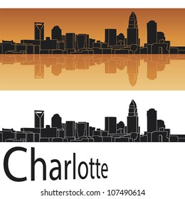 Charlotte skyline in orange background in editable vector file