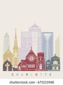Charlotte skyline poster in editable vector file