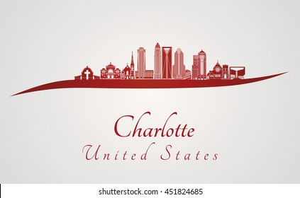 Charlotte skyline in red and gray background in editable vector file