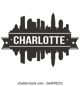 Charlotte Skyline Silhouette City Stamp