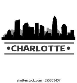 Charlotte Skyline Silhouette. Cityscape Vector Famous Buildings Clip Art Design.