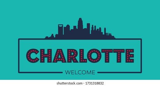 Charlotte skyline silhouette flat design typographic vector illustration.