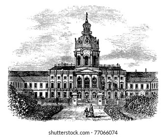 Charlottenburg Royal Palace, in Berlin, Germany, during the 1890s, vintage engraving. Old engraved illustration of Charlottenburg Palace. Trousset Encyclopedia