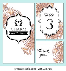 Charm collection. Floral ornament frame set. Invitation card, table number, thank you card. Perfect for invitations or announcements.