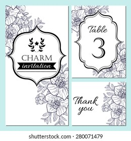 Charm collection. Vector floral ornament frame set. Invitation card, table number, thank you card. Perfect for invitations or announcements.