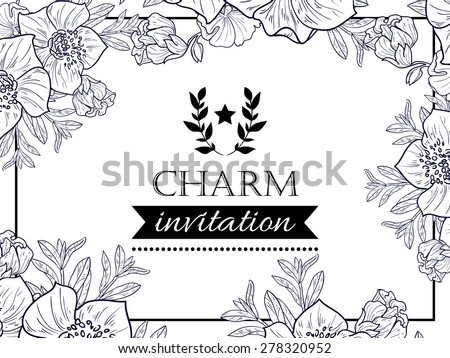 Charm Collection Vintage Invitation Card Beautiful Stock